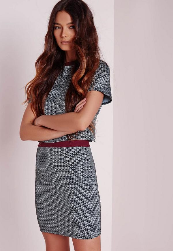 Contrast Waistband Jacquard Mini Skirt Blue
