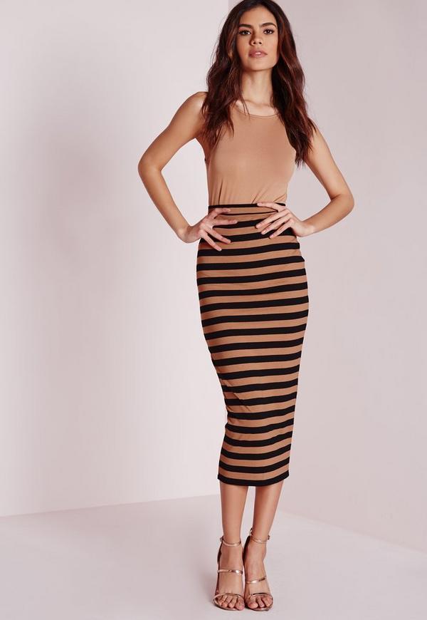 Longline Stripe Midi Skirt Camel