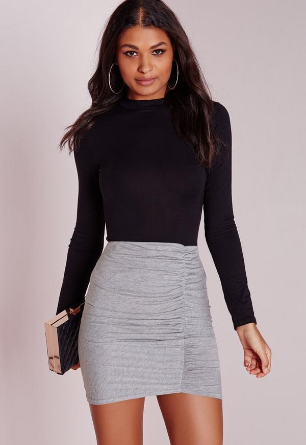 Ruched Mini Skirt Grey