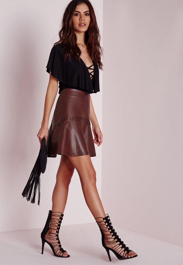 Whip-stitch Detail Faux Leather Mini Skirt Burgundy