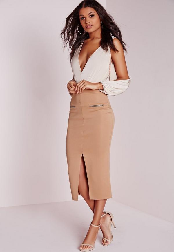 Longline Zip Midi Skirt Camel