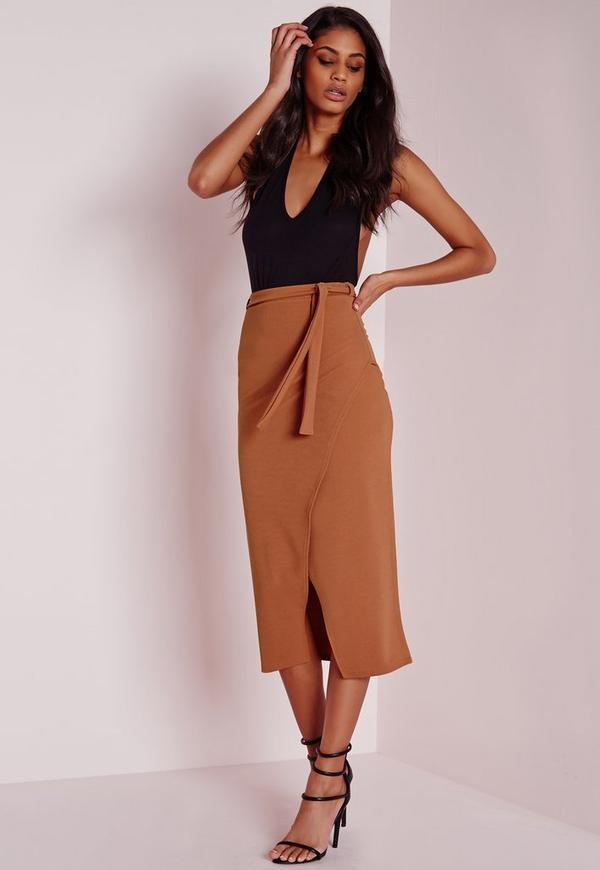 Tie Wrap Front Longline Midi Skirt Rust
