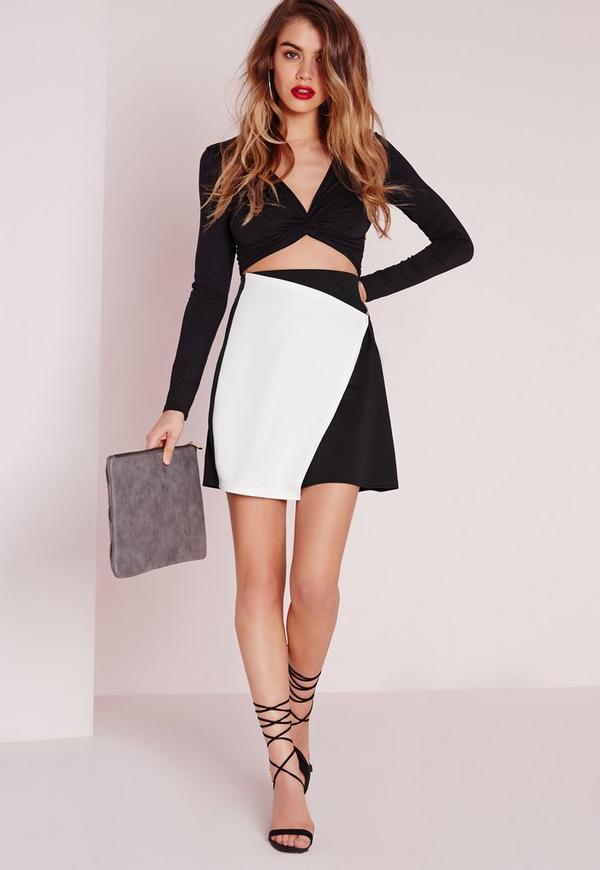 Asymmetric Monochrome Wrap Mini Skirt Black