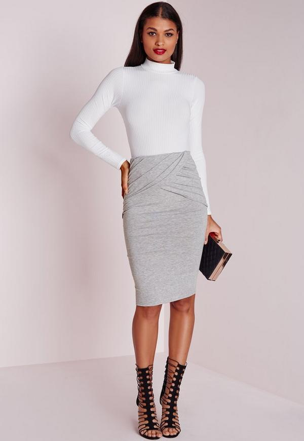 Pleated Wrap Waist Midi Skirt Grey