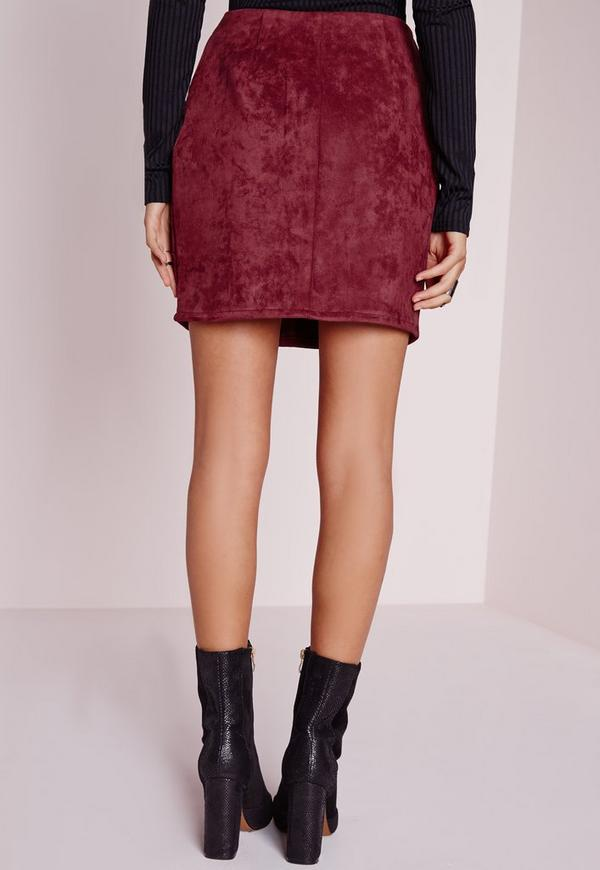 Faux Suede Mini Skirt Burgundy | Missguided