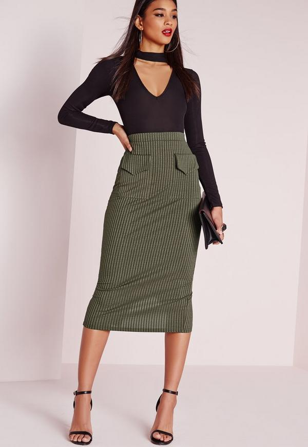 Utility Pocket Midi Skirt Khaki