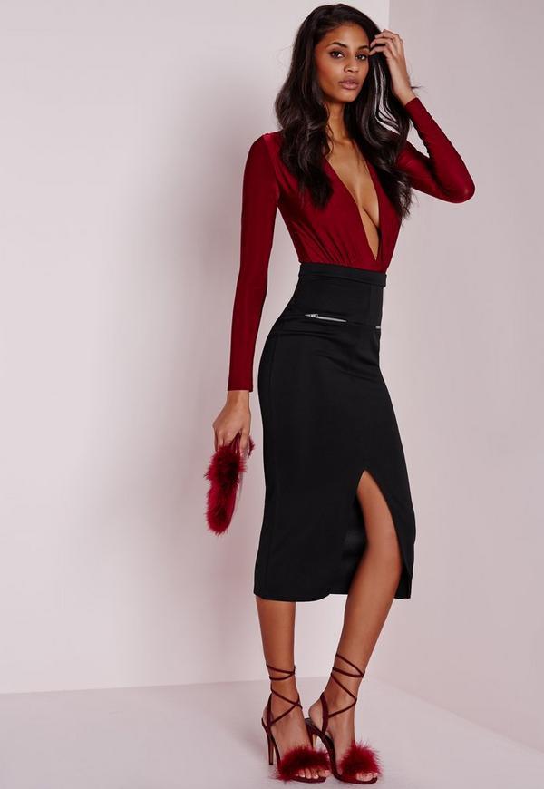 Longline Zip Midi Skirt Black