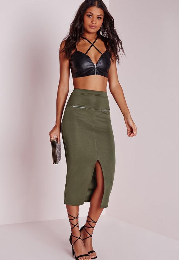 Longline Zip Midi Skirt Khaki