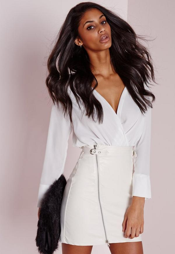 Faux Leather Buckle Zip A Line Skirt White   Missguided