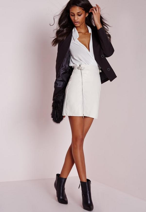 Faux Leather Buckle Zip A Line Skirt White | Missguided