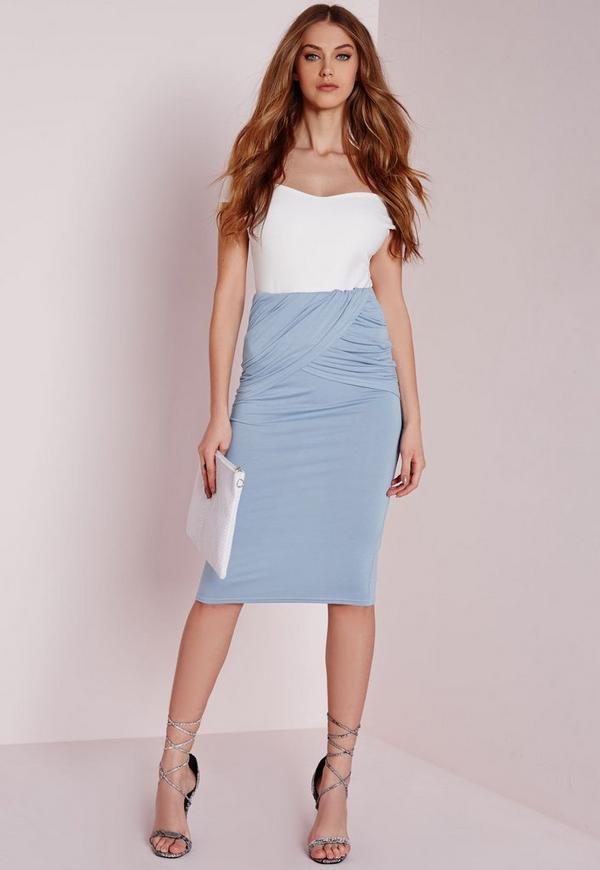 Pleated Wrap Waist Midi Skirt Blue
