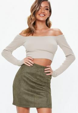 Khaki Faux Suede Mini Skirt