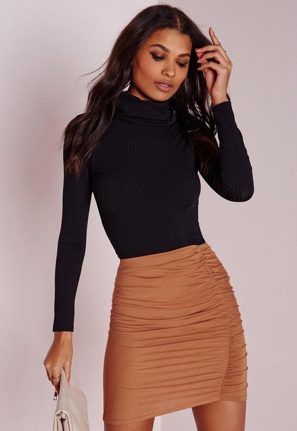 Runched Mini Skirt Brown