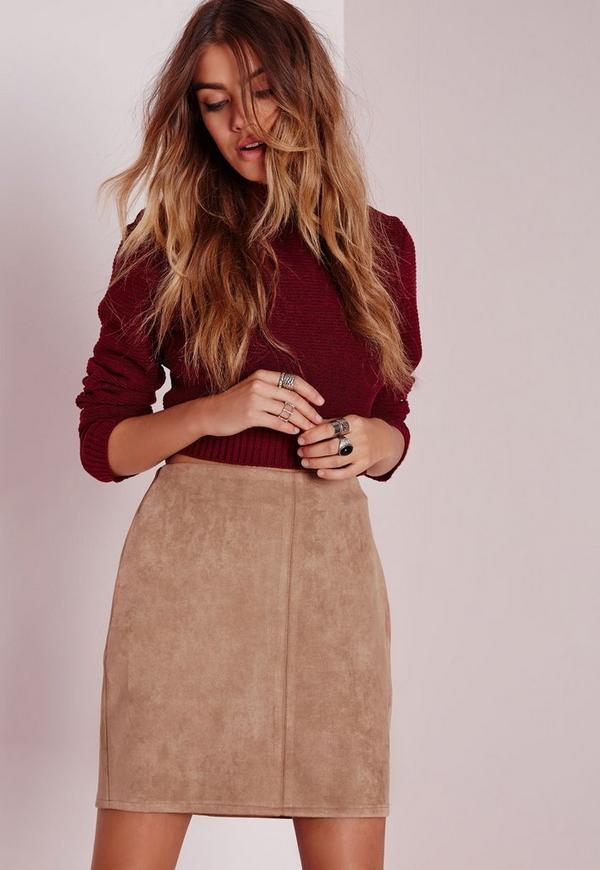 Bonded Faux Suede Mini Skirt Camel
