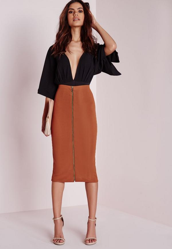 Zip Front Ribbed Midi Skirt Rust