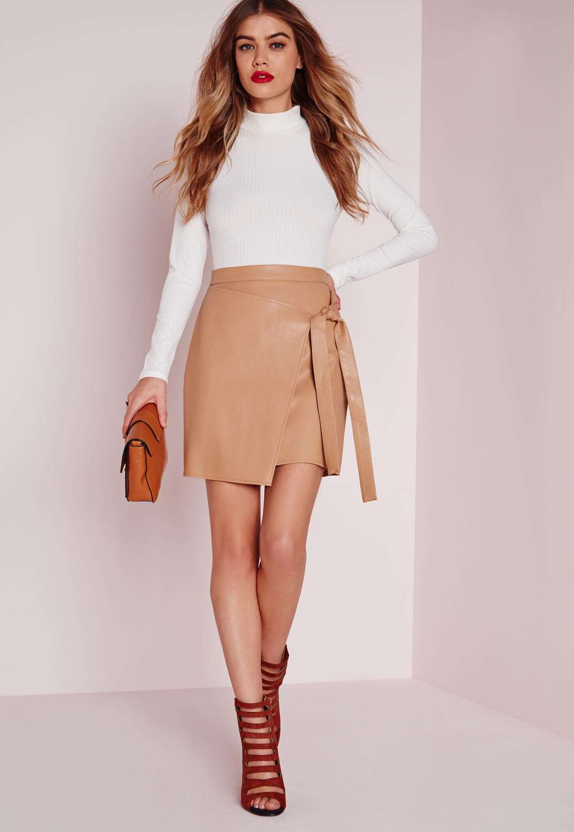 Wrap Front Faux Leather Mini Skirt Camel