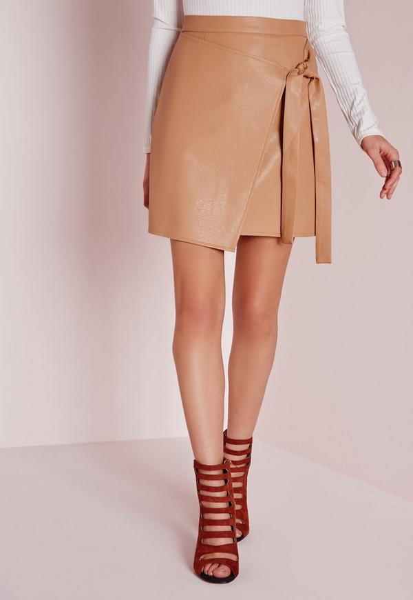 Wrap Front Faux Leather Mini Skirt Camel | Missguided