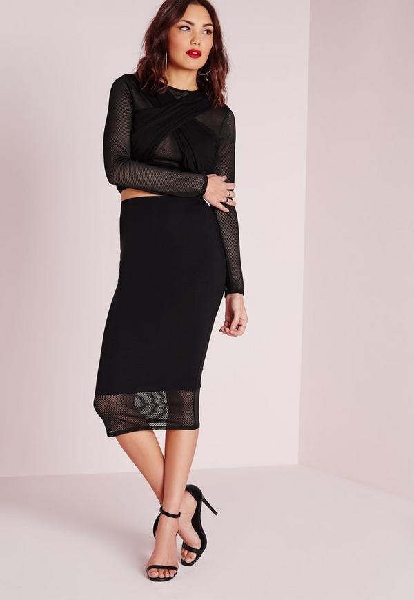 Fishnet Hem Midi Skirt Black