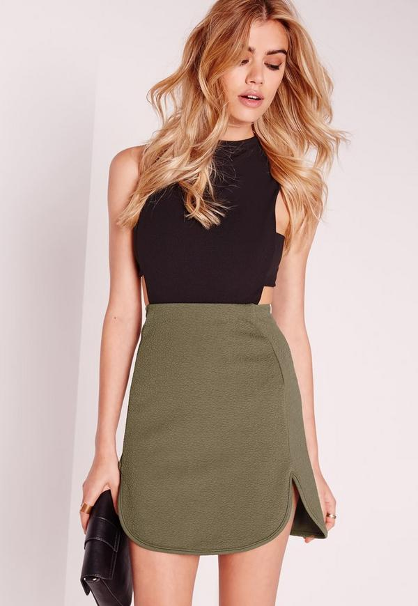 Textured Curve Hem Mini Skirt Khaki
