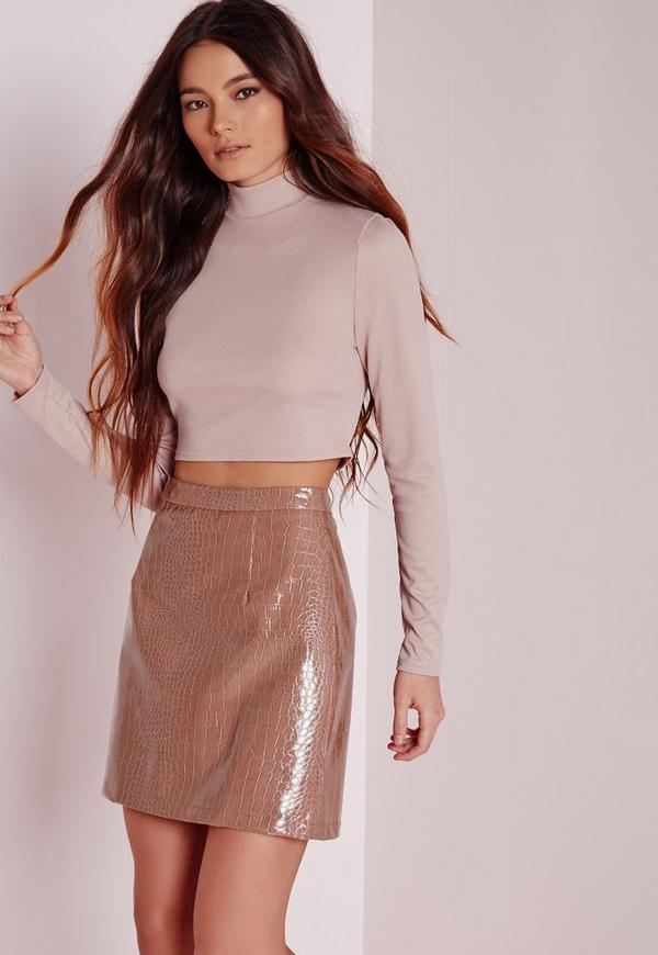 Croc Faux Leather A-Line Skirt Rose Pink | Missguided