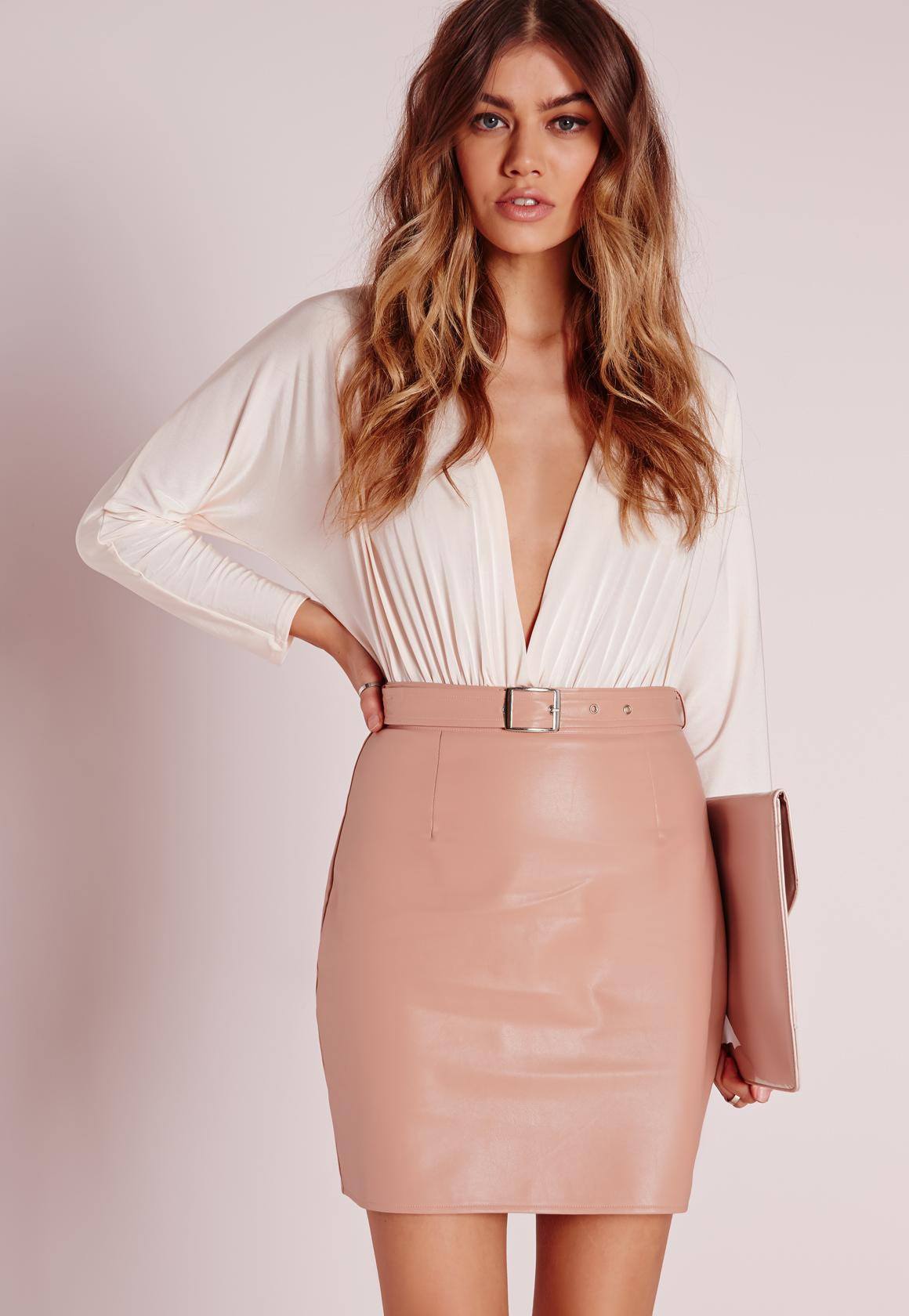 Buckle Detail Faux Leather Mini Skirt Nude Pink