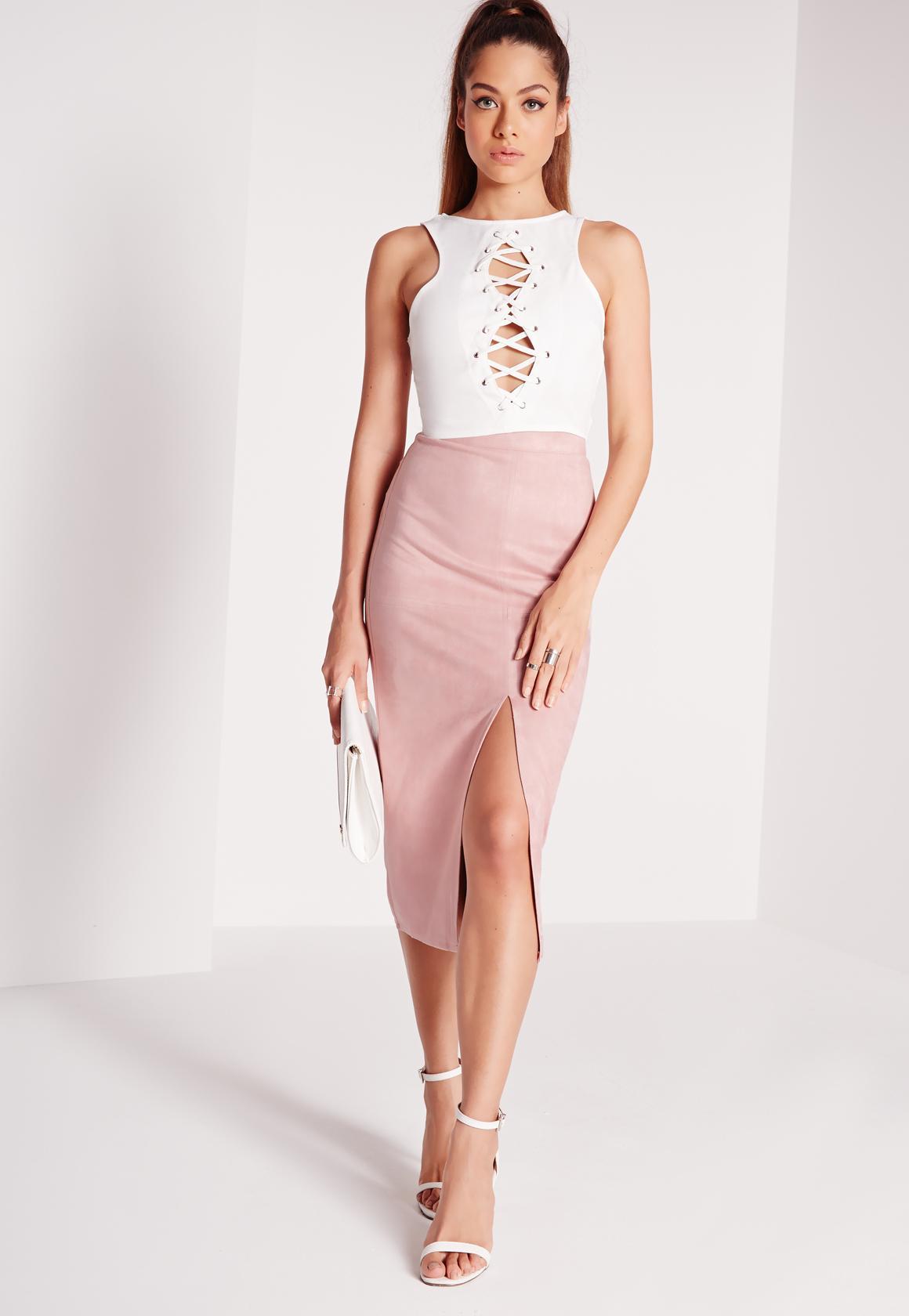 4f448c102860 Split Front Longline Faux Suede Midi Skirt Pink