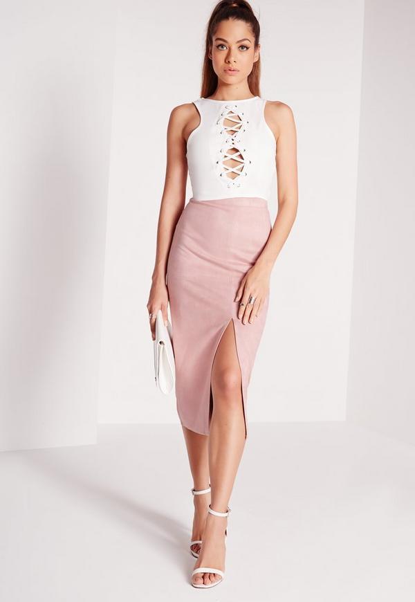 Split Front Longline Faux Suede Midi Skirt Pink