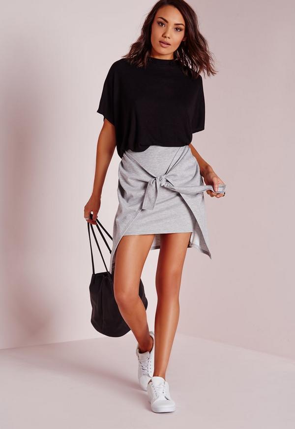 Tie Front Jersey Mini Skirt Grey