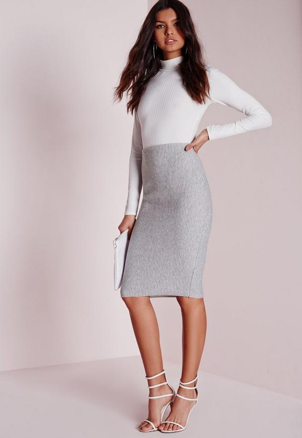 Ribbed Midi Skirt Grey