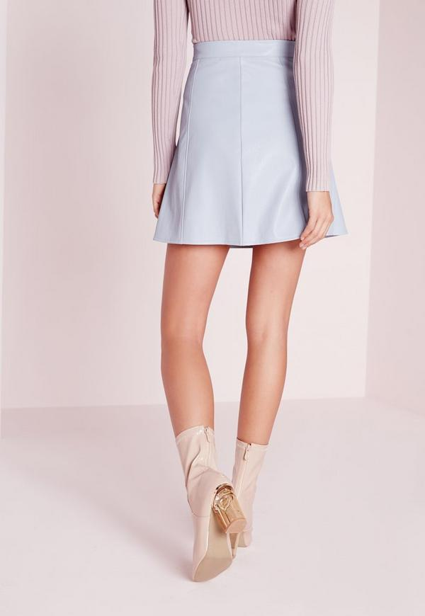 Faux Leather A Line Mini Skirt Light Blue | Missguided