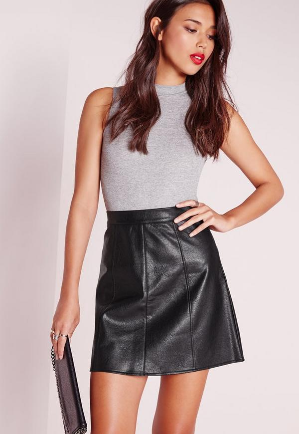 Faux Leather A Line Mini Skirt Black