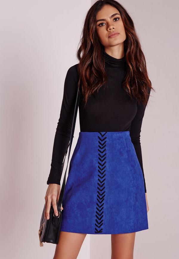 Stitch Front Faux Suede Mini Skirt Cobalt