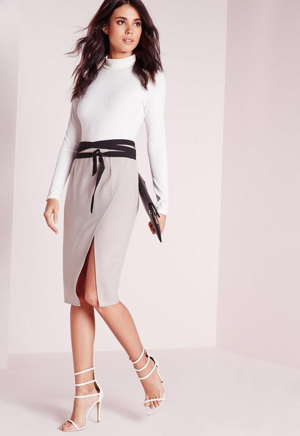 contrast wrap belt split front midi skirt grey