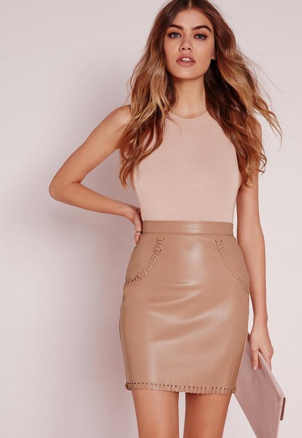 Stitch Detail Faux Leather Mini Skirt Nude