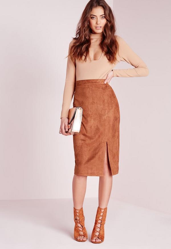Thigh Split Faux Suede Midi Skirt Mocha Brown