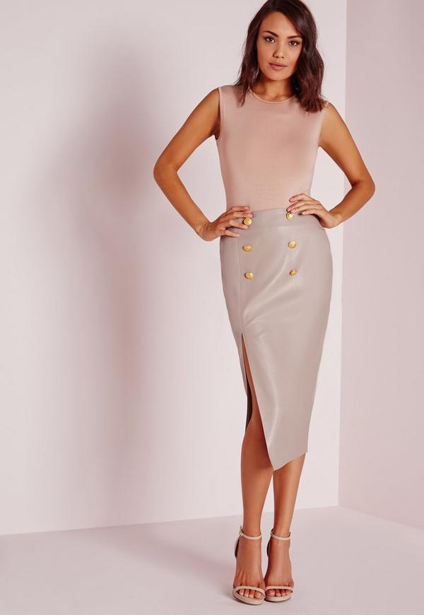 Gold Button Split Faux Leather Midi Skirt Grey
