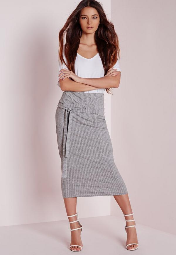 Ribbed Wrap Waist Midi Skirt Grey