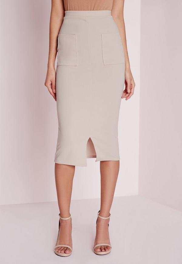 Utility Pocket Front Midi Skirt Taupe | Missguided Australia