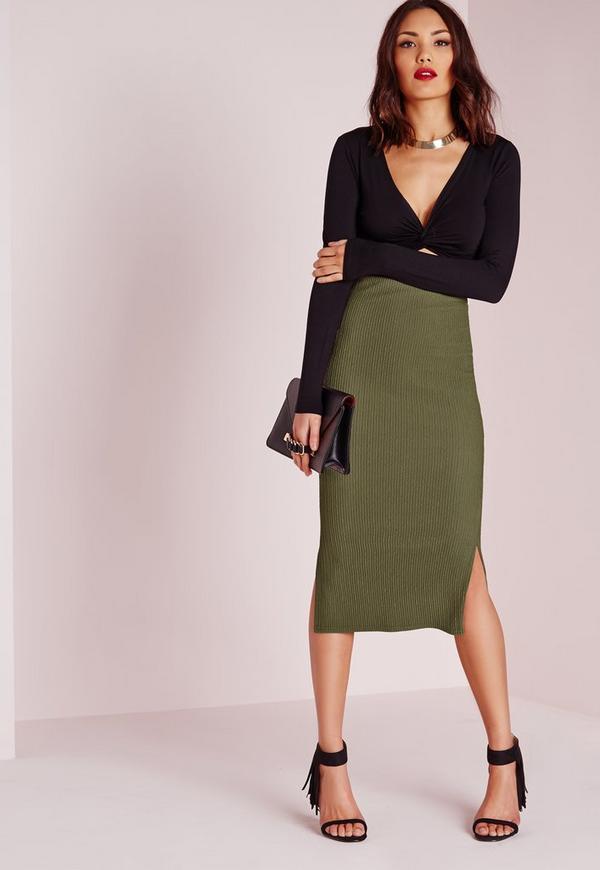 Textured Side Split Longline Midi Skirt Khaki