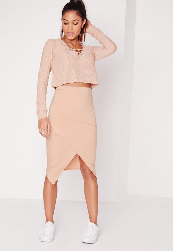 Wrap Asymmetric Midi Skirt Nude