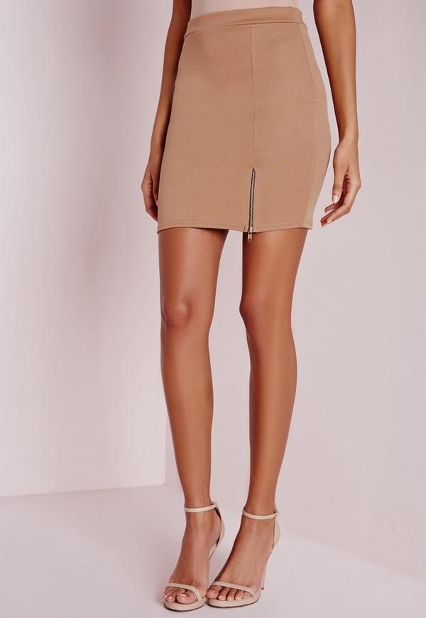 Zip Split Mini Skirt Camel - Skirts - Mini Skirts - Missguided