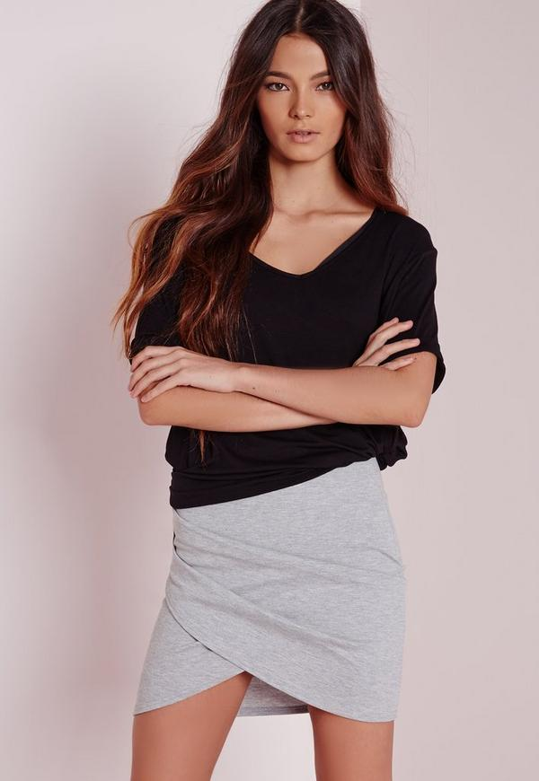 Wrap Front Mini Skirt Grey