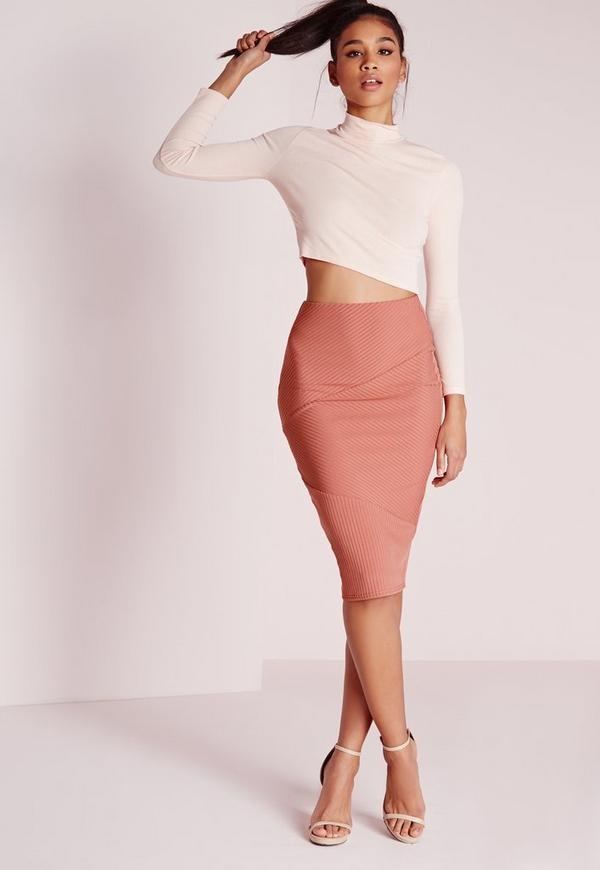 Panel Ribbed Midi Skirt Salmon