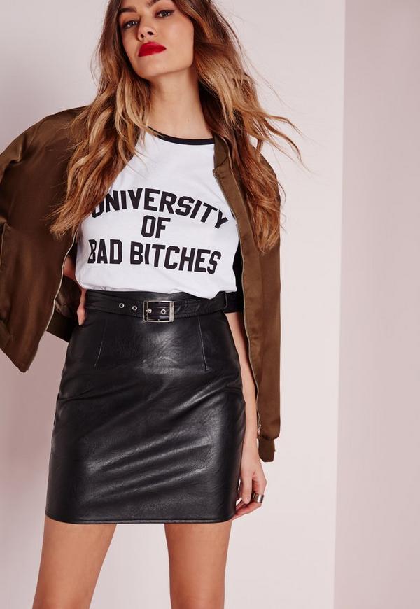 Buckle Detail Faux Leather Mini Skirt Black
