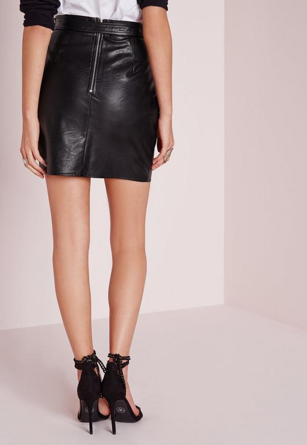 buckle detail faux leather mini skirt black missguided