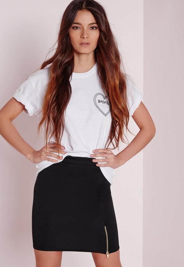Zip Split Mini Skirt Black