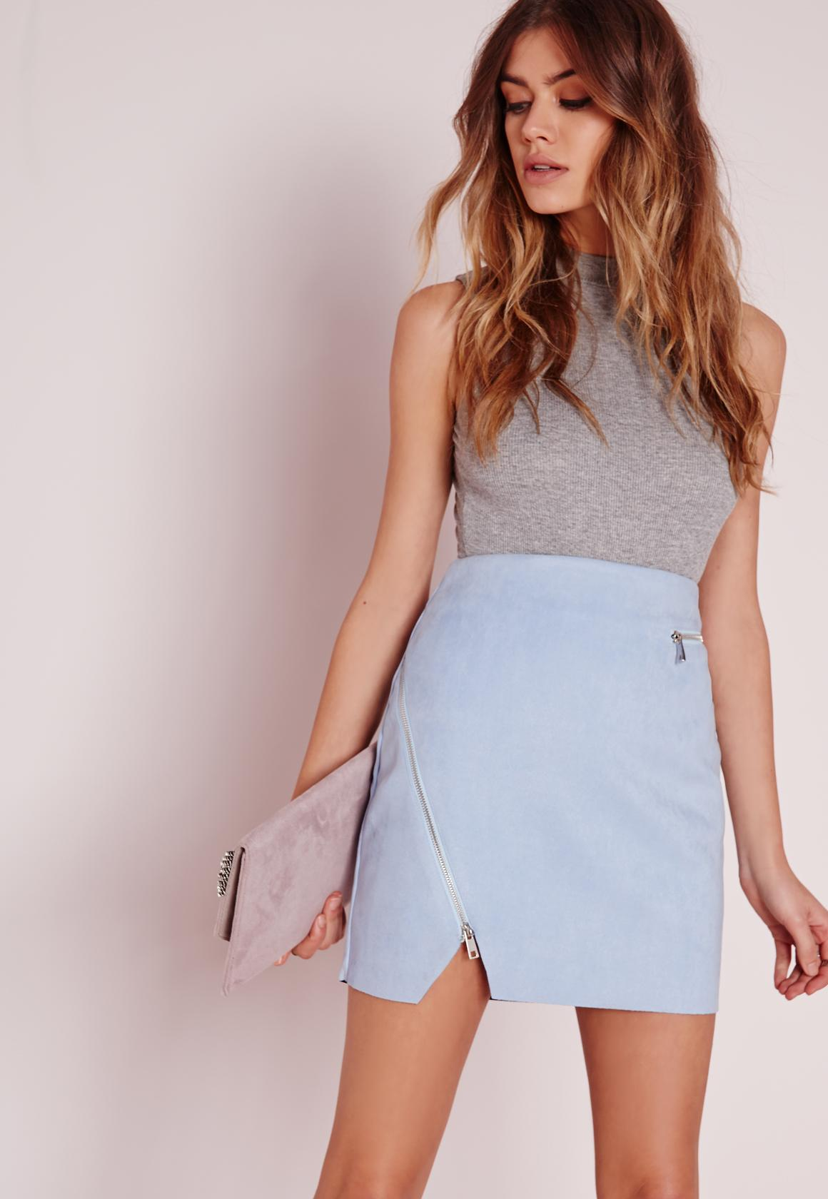 Zip Detail Faux Suede Mini Skirt Baby Blue | Missguided