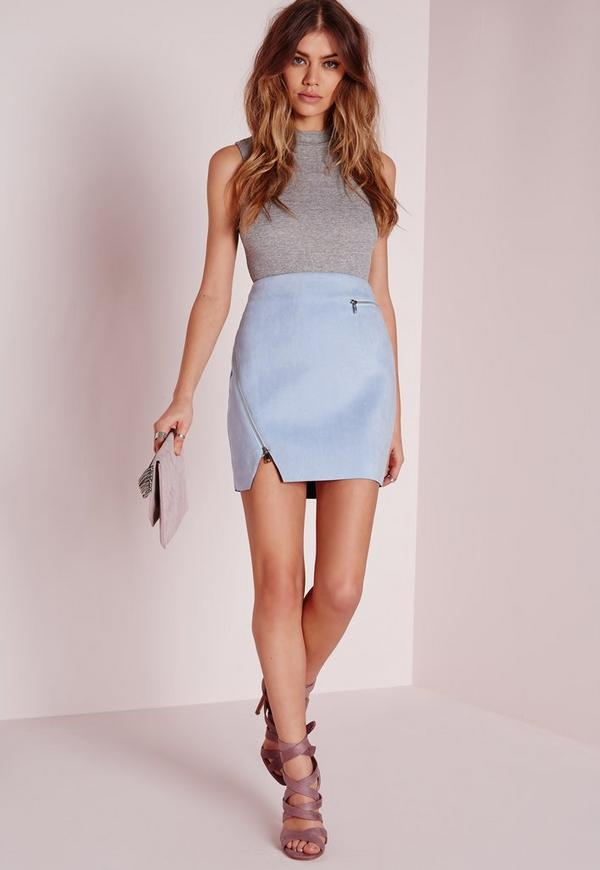 Zip Detail Faux Suede Mini Skirt Baby Blue Missguided