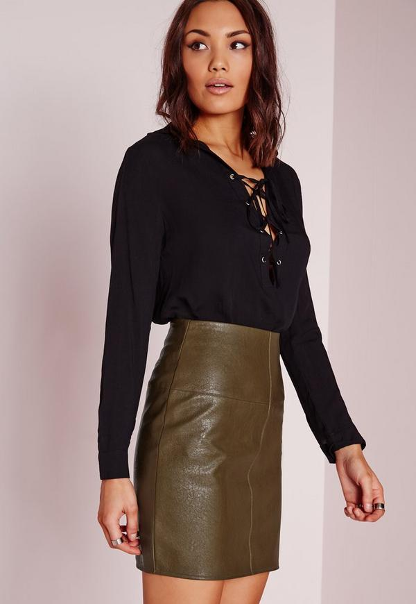 Faux Leather Mini Skirt Green