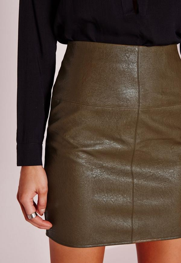 faux leather mini skirt green missguided
